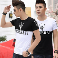 Wholesale Half Sleeve Cotton Shirt - Men's Short Sleeve T-shirt Maserati Printing Big Yards of Cultivate One's Morality Cotton Round Collar and A Half Sleeve T-shirt C