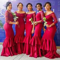 uzun kırmızı gelinin elbisesi ruffle toptan satış-Mükemmel Kırmızı Mermaid Kristal Gelinlik Modelleri Abiye Fırfır 3/4 Uzun Kollu Kat Uzunluk Tül Uzun Parti Elbise Örgün Balo Özel Akşam