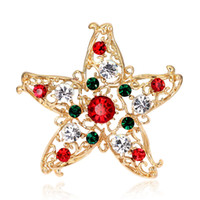 Wholesale Star 18k - Vintage 18K Gold Plated Hollow Out Christmas Star Brooch Pins for Women Fashion Crystal Rhinestone Brooches Party Costume Jewelry as gift