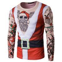 Wholesale Large Men Suits - Personalized Christmas Men's T-Shirts suits round neck t-shirt 2017 hot sales casual large size clothing INS