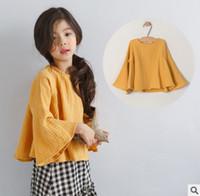 Wholesale Best Long Shirt Brand - Big kids blouses girls flare sleeve loose leisure tops children round collar cotton princess T-shirt autumn kids best clothing T0254