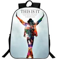 Wholesale Pop Stars Music - Michael Jackson backpack Super star daypack Forever schoolbag Pop music rucksack Sport school bag Outdoor day pack