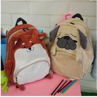 kız sırt çantaları köpekleri toptan satış-2017 Yeni Stil Taze Sevimli Hayvan Nakış Sırt Çantası Kadife Çanta Karikatür Sincap Köpek çocuk Okul Çantaları Erkek Kız Öğrenci Sırt Çantası