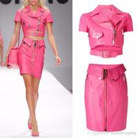 Wholesale Crop Leather Jacket Women - 2016 ew design fashion runway barbie pink PU leather short sleeve crop jacket pencil skirt dress suit twinset