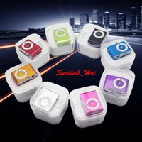 Wholesale Crystal Music Boxes - 60g mp3 music player clip earphone with charging usb cable and earphone and crystal retail box and TF Micro SD Card Slot