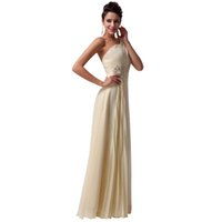 Wholesale Beautiful Women Photos - One shouler long prom dresses 2018 crystal backless chiffon light yellow formal dress beautiful women party vestido Cheap Prom Party Dresses