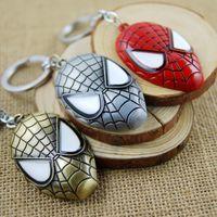 Wholesale Mask Spider Man Red - 1PC Superhero Spiderman Mask Pendant Keychain Zinc Alloy Spider Man Metal Spider Man Key Chain Key Ring For Men Women Christmas Gift M149