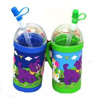 Wholesale Straw Animals Designs - New Designs Plastics Straws Milk Mugs PVC Embossed Dog Animals Handgrip Water Tumbler Cups With Lids Drinkware