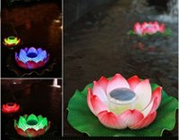 Wholesale Festival Lighting IP65 Outdoor Solar LED pretty Lotus Light Waterproof Pond Pool Decorative Floating Lamps