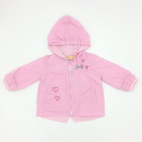 Wholesale Girls Lovely Coats - Baby Clothes Girls Pink Color Lovely Outweat Love Embroider With Hat Cute Infant Girls Tench Coats