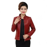 Wholesale Middle Age Women Clothing - Hot Middle-aged Leather Jacket Plus Size 6XL Female Casual Short Coat Jackets 2017 Autumn New Women's Clothing PU Jackets Surcoa