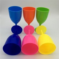 Wholesale Plastic Wine Goblets - New Multi-function Plastic drinking cup Solid color tooth cup outdoors Wine glass household simple Goblet IA827