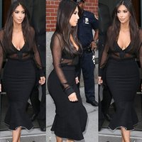 Wholesale Sexy Stocking Calf - 2016 Fashion Brand Black Celebrity Dress Kim Kardashian Sexy Deep V Neck Long Sleeve Sheer Mermaid Ruffle Mid Calf Party Dress In Stock