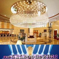 Wholesale Chandeliers Pendant Lights Sale - PL14XY Dia 60-100cm Round Sales Department Hotel Lobby Crystal Chandelier Villa LED Living Room Lights Club Major Projects Pendant Lamp