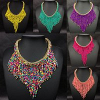 Wholesale Choker Bib Necklace - Charms Womens Jewelry Seed Beads Tassel Choker Collar Bib Statement Necklace Ladies Bohemian Necklace