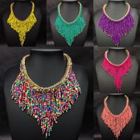 Wholesale Gold Choker Bib Collar Necklace - Charms Womens Jewelry Seed Beads Tassel Choker Collar Bib Statement Necklace Ladies Bohemian Necklace