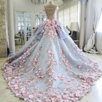 Wholesale Colorful Flower Wedding - Charming Colorful Wedding Dresses Ball Gown 3D-Floral Appliques Flower Vintage Bling Backless Long Court Train Princess Bridal Gowns