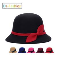 Wholesale fedora sale - Elegant Fedoras Kentucky Derby Hat With Bow For Women Popular Dress Black Pink Red Church Hats Ladies Formal Wedding Honey Bucket Cap Sale