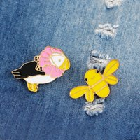 Wholesale Cute Parrot - Enamel Pins Cute Parrot Bee Birds with Flower Brooch Denim Jacket Pin Buckle Shirt Badge Animal Jewelry Gift for Kids Girls