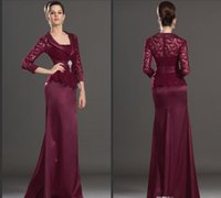 Wholesale Strapless Red Dress Bride - 2016 New Burgundy Lace Mother Of The Bride Dresses Long Sleeves Mermaid Floor Length Formal Mother Dress Wedding Guest Gowns Plus Size Cheap