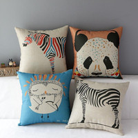 Wholesale Zebra Print Decorations - 45cm Cartoon Panada Zebra Owl Cotton Linen Fabric Throw Pillow 18inch Handmade New Home Office Bedroom Decoration Sofa Back Cushion