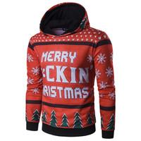 Wholesale Mens Christmas Hoodie - Long Sleeve New Fashion Mens Hoodies Christmas Gift Warm Boys Hoody Merry Christams Print