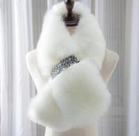 Wholesale Diamond Scarfs - New Style Winter warm Full Pelt Fox Fur Scarf Collar With Diamond Button Wram Winter Wraps Scarves cc762