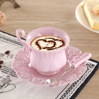 Wholesale Chinese Porcelain Mug - H011 - 2016 Exquisite EU Style Pink White Colors Chinese Ceramic Coffee Cup Enamel Porcelain Mug Cup 3pc Set Ceramic Coffee Set for Girls