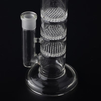 Wholesale Bowl Clear - Crazzzy Price 38mm Tube 3 Clear Honey Comb Perc Disk Water Pipe Glass Bong With Free Charge Matching Dry Bowl BestGlass S01