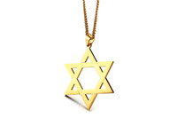 gümüş hexagram toptan satış-Trendy Yıldız David Erkekler Kolye Paslanmaz Çelik Altın Gümüş Renk Heksagram Şekli Kolye Takı Kolye