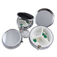 Wholesale Silver Metal Round Pill Box - Wholesale-1pcs lot Metal Round Silver Tablet Pill Boxes Holder Advantageous Container Medicine Case Small Case
