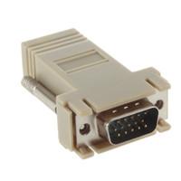 adaptador rj45 db9 al por mayor-Adaptador de cable de red VGA D-SUB DB9 macho extensor a LAN CAT5 CAT5e CAT6 RJ45 hembra