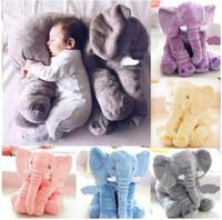 Wholesale Doll Lumbar Pillow - Colorful Elephant Pillow Baby Doll Children Sleep Pillow Birthday Gift Lumbar Pillow Long Nose Elephant Doll Soft Plush