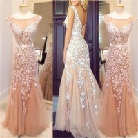 2017 Sexy Perlen Prom Party Kleider Spitze Applique Backless Meerjungfrau Sheer Bateau Hals Nude Tüll Plus Size Formal Abendkleider Real Images