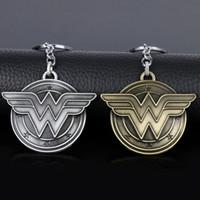 Wholesale Leather Ring W - HEYu Fashion Movie DC Marvel Superhero Pewter Wonder Woman Letter W Logo Key Chain Key Ring Key Rings Chaveiro Jewelry Souvenir
