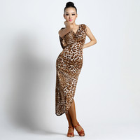 Wholesale Sexy Leopard Female Costumes - 2017 Fashion sexy quality ballroom modern Latin dance one-piece dress for women female girl, professional costume performance wears