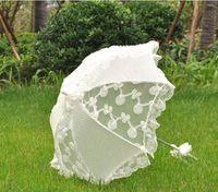 dantel ücretsiz nakliye işçiliği toptan satış-Beyaz dantel şemsiye dekore prenses saray şemsiye gelin zanaat şemsiye düğün kutlama 2 adet / grup ücretsiz kargo