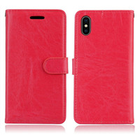 Wholesale Iphone Flip Case Power - Crazy Horse Leather Case For IPhone X HTC 830 LG X Power 2 K10 Power MOTO G6 Plus G5S Plus Colorful Flip Wallet Stand Cards Slot Cover 50pcs
