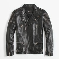 Wholesale Mens Real Leather Motorcycle Jacket - 2017 New Mens Black Rivet Leather Biker Jacket Stand Collar Real Cowhide Short Slim Fit Men Winter Motorcycle Coat FREE SHIPPING