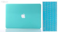 Wholesale Hard Case Cover Keyboard Skin - Water Blue Solid Rubberiz Matte Hard Case Cover Shell & Free Silicone Keyboard Skin For Macbook Air Pro Retina 11 12 13 15 Inch