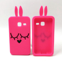 Wholesale Smile Phone Cases - 3D Cartoon Smile Bunny Rabbit Soft Silicone Cover for Samsung GALAXY J1 Mini J1 Ace J1 J3 J5 J7 A3 A5 2016 J120 J510 J710 Rubber Phone Cases