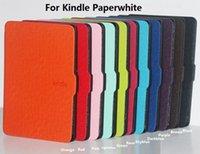 Wholesale E Readers Kindle Amazon - 1pcs Ultra Slim Leather Flip Cover Case For Amazon Kindle Paperwhite Paper White 1 2 Fashion Cross Lines 6'' E-Reader Book Case
