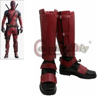 özel yapılmış cosplay botları toptan satış-Toptan-Yeni Deadpool Cosplay Çizmeler Yetişkin ayakkabı Marvel Deadpool Boots Custom Made D0418
