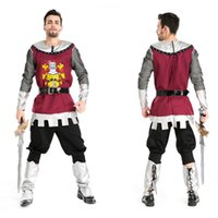 Wholesale Pirate Costume Deluxe - Adult fantasy of deluxe custom men halloween Medieval pirate viking warrior gladiator rome cosplay costumes party outfits suit