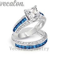 Wholesale Tanzanite Diamond Wedding Rings - Vecalon Brand Design Tanzanite Cz Diamond Wedding Band ring set for women 10KT White Gold Filled Female Engagement Finger ring