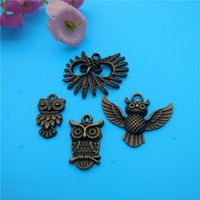 Wholesale Bronze Owl Bead Necklace - Mixed Tibetan bronze owl Charms Pendants Jewelry Making Bracelet Necklace Fashion Popular Jewelry Findings & Components Accessories V162