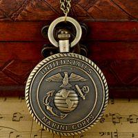 Wholesale Marine Corps Antiques - Wholesale-Retro Antique Bronze United States Marine Corps Force Quartz Pocket Watch Necklace Men Pendant Gift