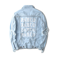 Wholesale Jean Jacket Sleeves - KANYE Mens Denim Jackets Light Blue Letters PABLO Design Spring Jacket Jean Coats Single Breasted