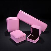 Wholesale Luxury Chocolate Gifts - PU Leather Jewelry Display Box Pink Jewellery Finger Ring Pendant Necklace Bracelet Gift Packaging Box Chocolate Velvet Luxury Custom Logo