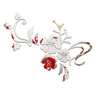 Wholesale Backdrop Stickers - TV backdrop bedroom three-dimensional wall stickers acrylic wall sticker romantic flower vine new 2016 European and American fashion